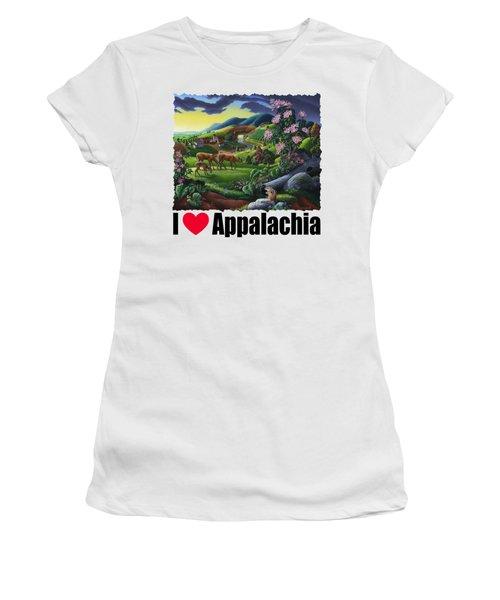I Love Appalachia T Shirt - Deer Chipmunk High Meadow Appalachian Landscape Women's T-Shirt