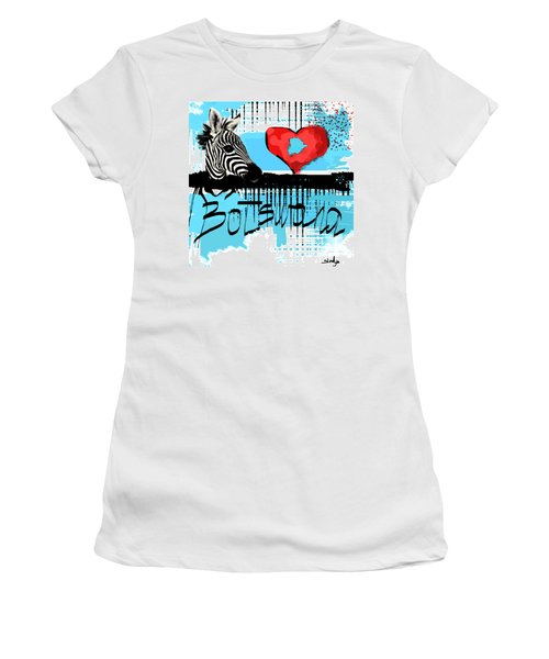 I Love Botswana  Women's T-Shirt (Junior Cut) by Sladjana Lazarevic