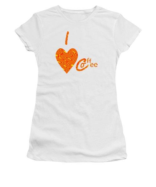 I Love Coffee Peach And Yellow Women's T-Shirt (Junior Cut) by Kathleen Sartoris