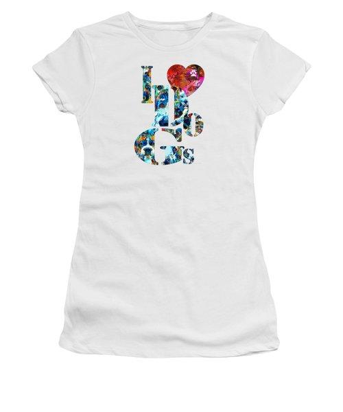 I Love Dogs By Sharon Cummings Women's T-Shirt (Junior Cut)