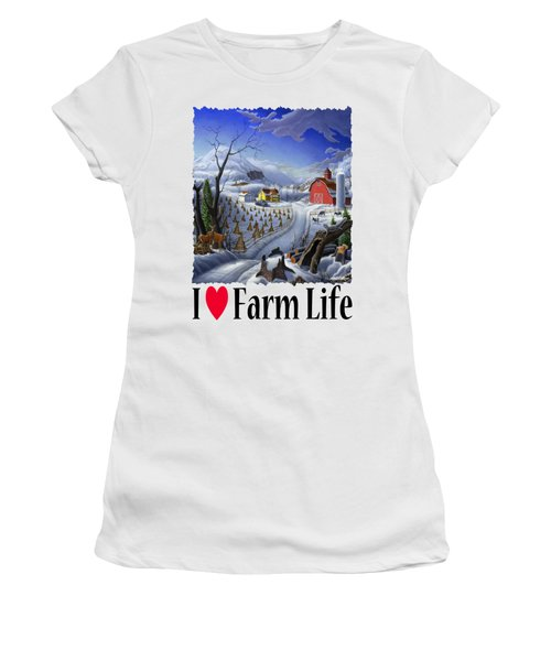 I Love Farm Life - Rural Winter Country Farm Landscape Women's T-Shirt