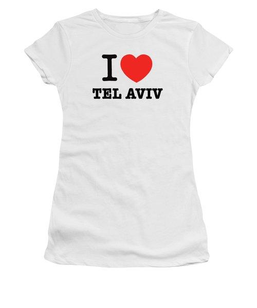 Women's T-Shirt (Junior Cut) featuring the photograph i love Tel Aviv by Ron Shoshani