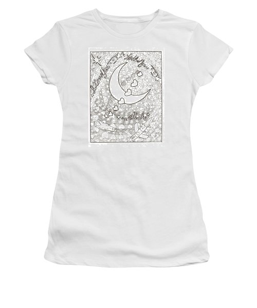 I Love You To The Moon And Back Women's T-Shirt (Junior Cut) by Wendy Coulson