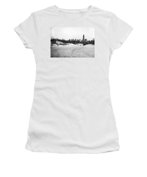 Ice Skaters In Central Park. Women's T-Shirt