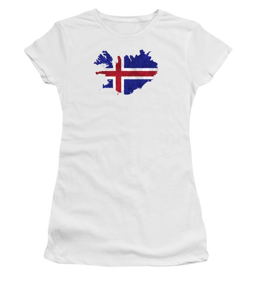 Iceland Map Art With Flag Design Women's T-Shirt