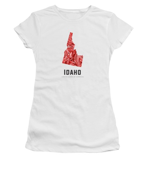 Idaho Map Art Abstract In Red Women's T-Shirt