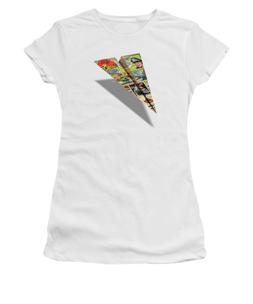 8cc748d54abf Women s T-Shirt featuring the digital art Ideal Boaterific Comic Book Ad  Paper Airplane by
