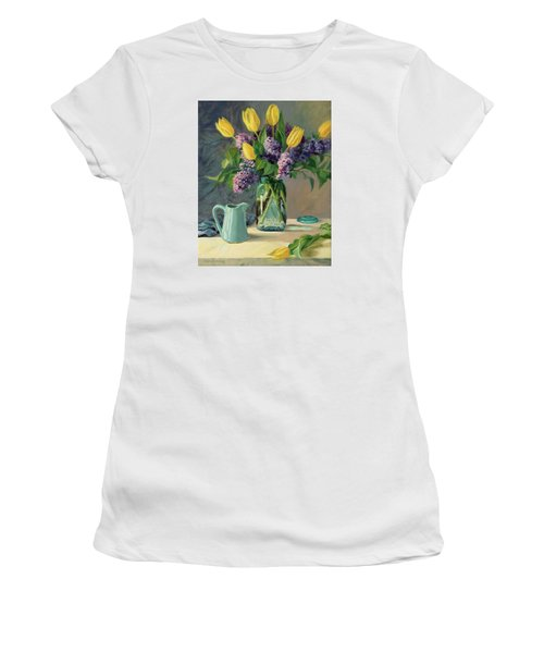 Ideal - Yellow Tulips And Lilacs In A Blue Mason Jar Women's T-Shirt (Athletic Fit)