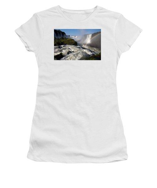 Iguassu Falls With Rainbow Women's T-Shirt (Junior Cut) by Aivar Mikko