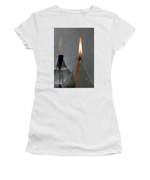 Women's T-Shirt (Junior Cut) featuring the digital art Impossible Shadow Oil Lamp by Jana Russon