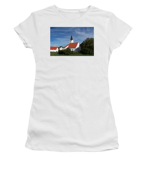 Women's T-Shirt featuring the digital art Impressionist Country Church by Shelli Fitzpatrick