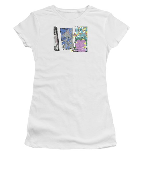 In Between Window And Flowers Women's T-Shirt (Athletic Fit)