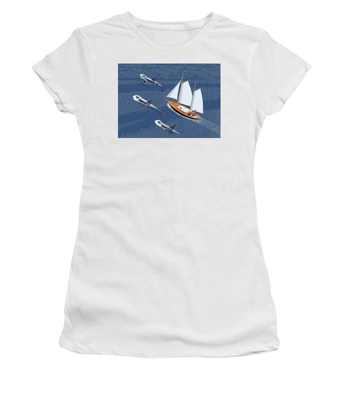 Women's T-Shirt (Junior Cut) featuring the digital art In The Company Of Whales by Gary Giacomelli