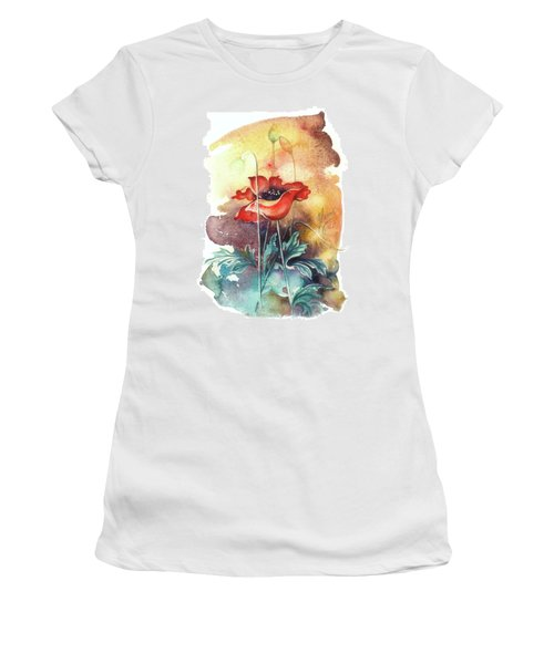 Women's T-Shirt (Junior Cut) featuring the painting In The Turquoise Coat by Anna Ewa Miarczynska