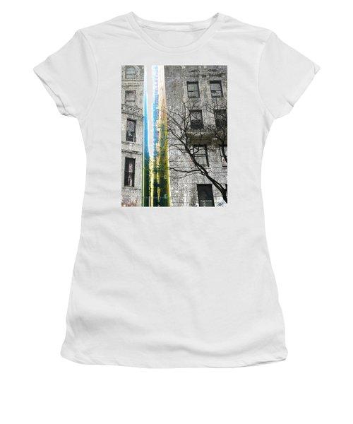Women's T-Shirt (Junior Cut) featuring the mixed media Inbetween  by Tony Rubino