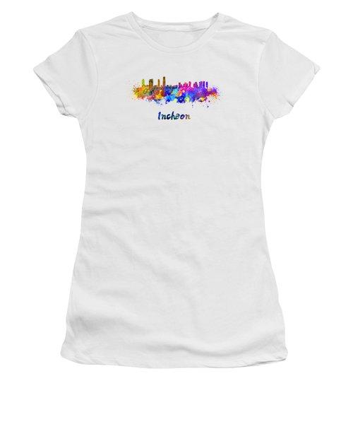 Incheon Skyline In Watercolor Women's T-Shirt