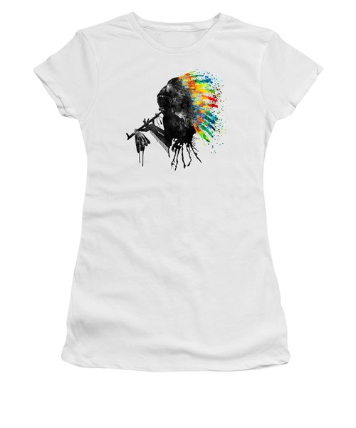 Indian Silhouette With Colorful Headdress Women's T-Shirt