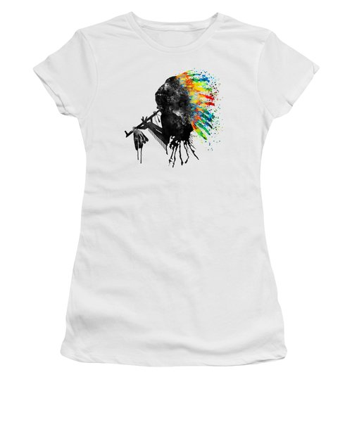 Indian Silhouette With Colorful Headdress Women's T-Shirt (Athletic Fit)
