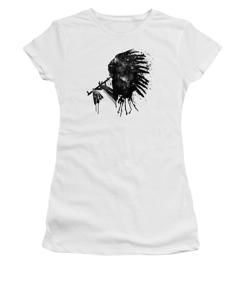 Women's T-Shirt (Junior Cut) featuring the mixed media Indian With Headdress Black And White Silhouette by Marian Voicu
