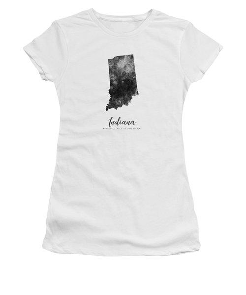 Indiana State Map Art - Grunge Silhouette Women's T-Shirt