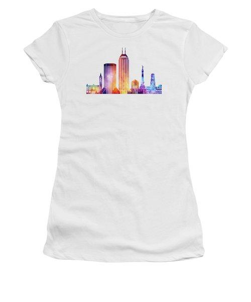 Indianapolis Landmarks Watercolor Poster Women's T-Shirt