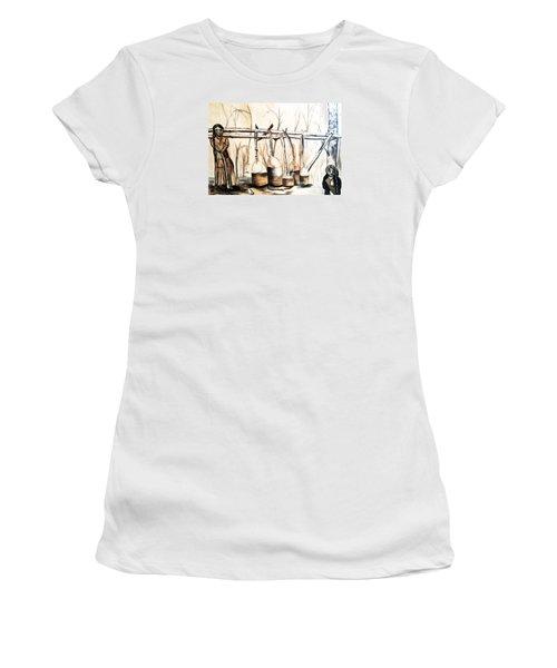 Indians Making Maple Sugar. Cass Lake. 1905  Women's T-Shirt (Junior Cut) by Ayasha Loya