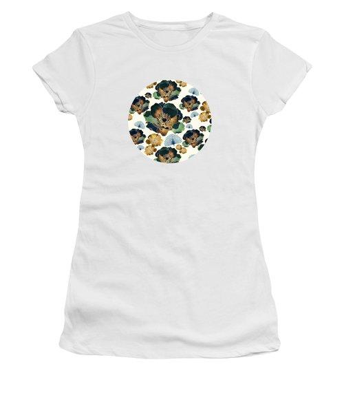 Indigo Flowers And Peacocks Women's T-Shirt