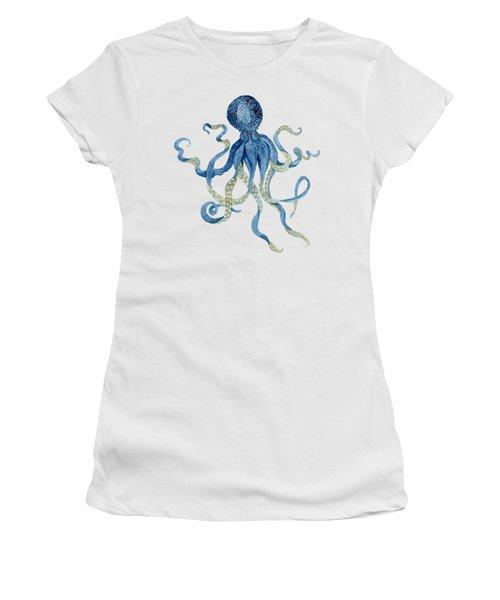 Indigo Ocean Blue Octopus  Women's T-Shirt (Junior Cut) by Audrey Jeanne Roberts