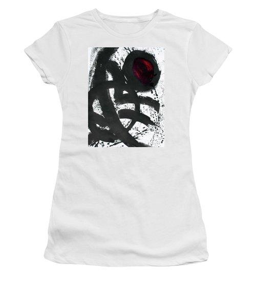 Ink On Paper Rose #2 Vertical Ink Landscape Original Fine Art Ink On Paper Women's T-Shirt (Athletic Fit)