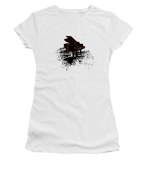 Women's T-Shirt featuring the digital art Inked Gold Piano by Barbara St Jean