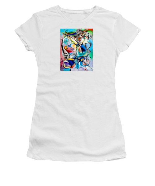 Women's T-Shirt (Junior Cut) featuring the painting Intimate Glimpses - Journey Of Life by Kerryn Madsen-Pietsch