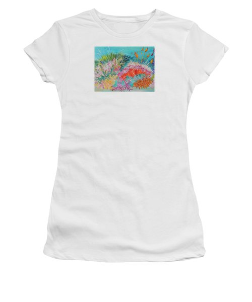 Women's T-Shirt (Junior Cut) featuring the painting Feeding Time # 3 by Lyn Olsen
