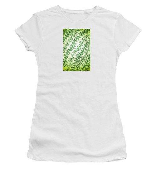 Women's T-Shirt featuring the drawing Into The Thick Of It, Green by Monique Faella