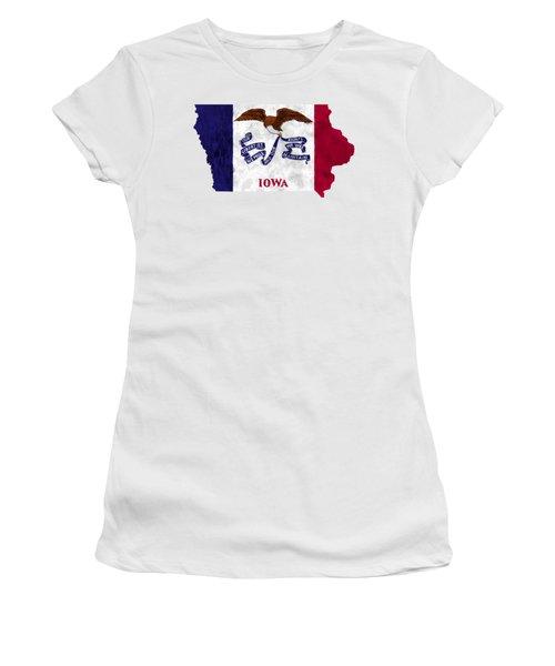 Iowa Map Art With Flag Design Women's T-Shirt