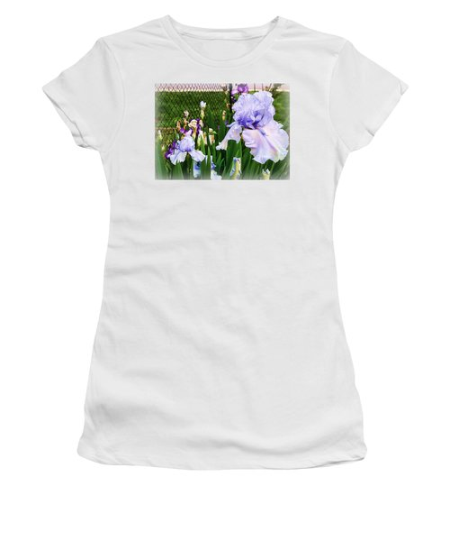 Iris At Fence Women's T-Shirt (Junior Cut) by Larry Bishop