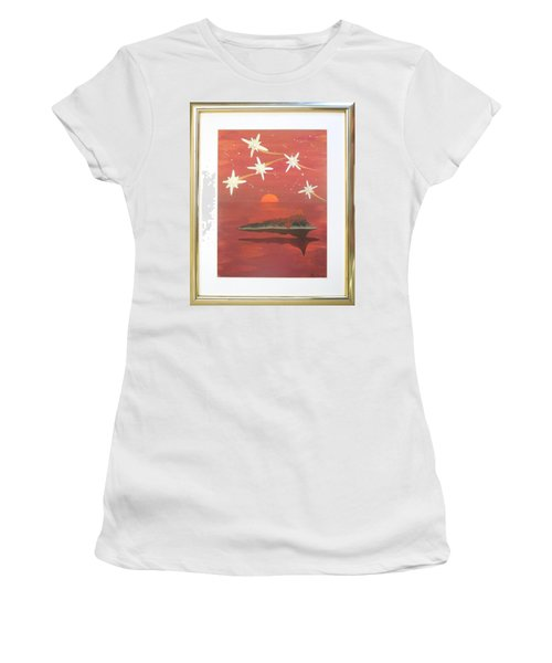 Women's T-Shirt (Junior Cut) featuring the painting Island In The Sky With Diamonds by Ron Davidson