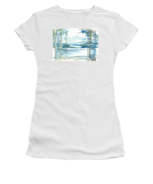 Women's T-Shirt featuring the painting Island Paradise by Reed Novotny