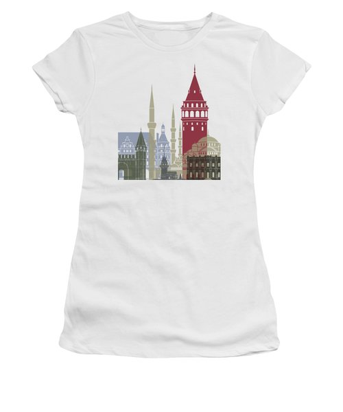 Istanbul Skyline Poster Women's T-Shirt (Junior Cut) by Pablo Romero