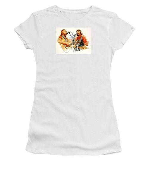 Its Country - 7  Waylon Jennings Willie Nelson Women's T-Shirt (Junior Cut) by Cliff Spohn