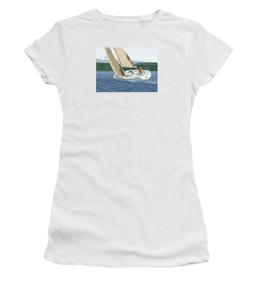 Women's T-Shirt (Junior Cut) featuring the painting J-109 Sailboat Off Comox B.c. by Gary Giacomelli