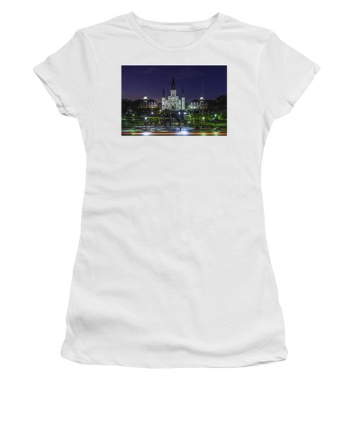 Jackson Square And St. Louis Cathedral At Dawn, New Orleans, Louisiana Women's T-Shirt (Athletic Fit)