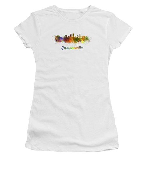 Jacksonville Skyline In Watercolor Women's T-Shirt