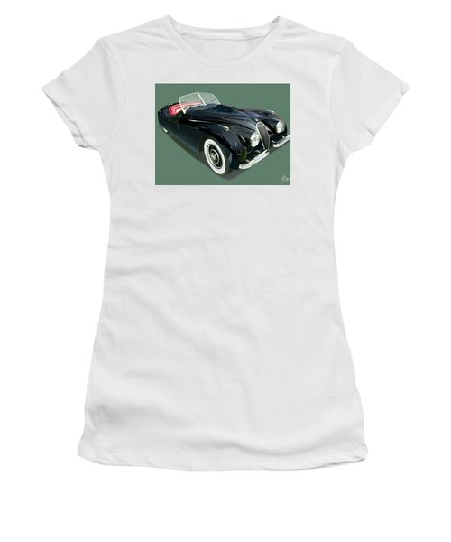 Jaguar Xk 120 Illustration Women's T-Shirt (Junior Cut) by Alain Jamar