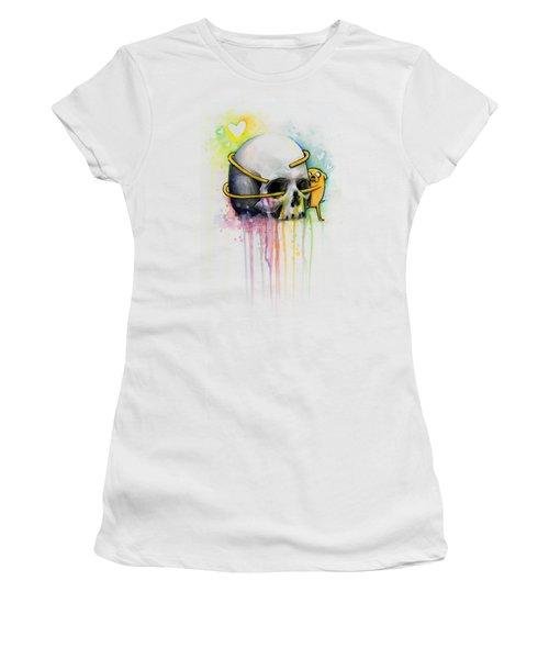 Jake The Dog Hugging Skull Adventure Time Art Women's T-Shirt (Athletic Fit)