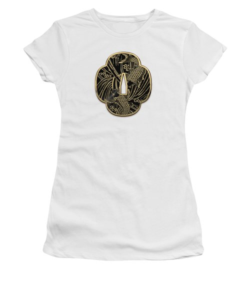 Japanese Katana Tsuba - Golden Twin Koi On Black Steel Over White Leather Women's T-Shirt (Athletic Fit)