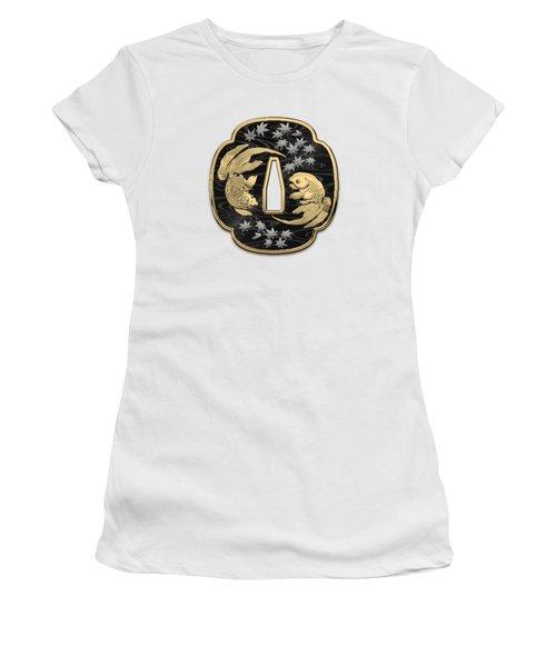 Japanese Katana Tsuba - Twin Gold Fish On Black Steel Over White Leather Women's T-Shirt (Junior Cut)