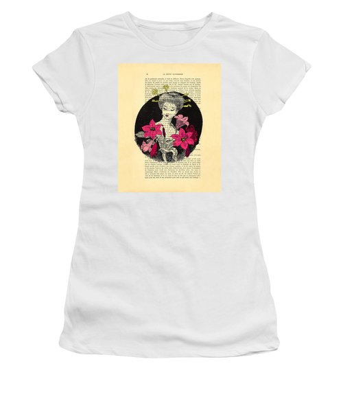 Japanese Lady With Cherry Blossoms Women's T-Shirt