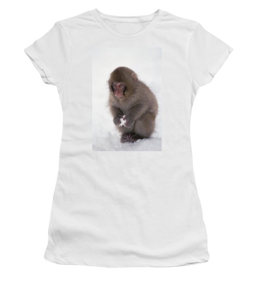 Women's T-Shirt featuring the photograph Japanese Macaque Macaca Fuscata Baby by Konrad Wothe
