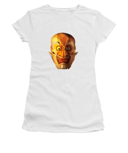 Japanese Mask Cutout Women's T-Shirt (Junior Cut) by Linda Phelps