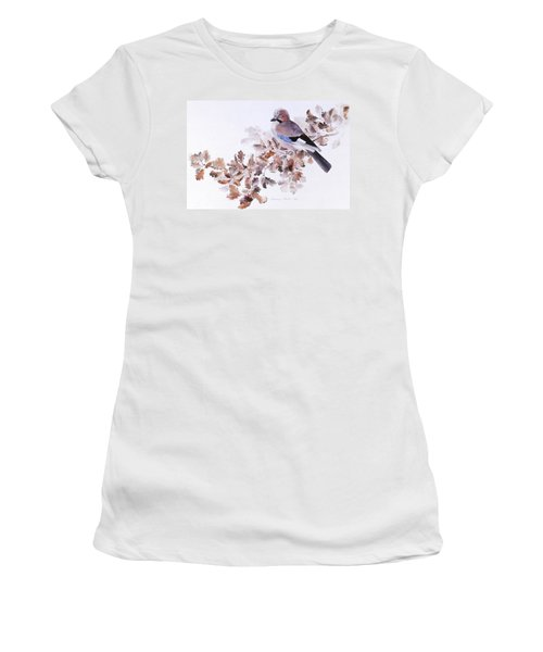 Jay On A Dried Oak Branch Women's T-Shirt